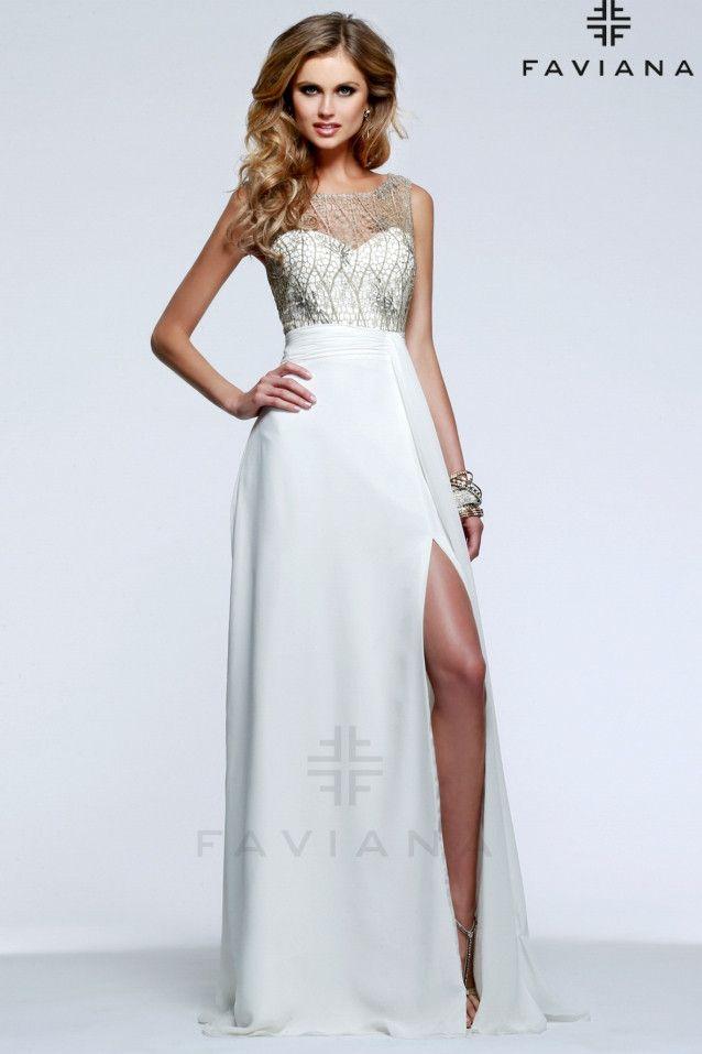 Vestido de novia civil con cuerpo en guipure dorado modelo 7459 by Faviana   de0112631317