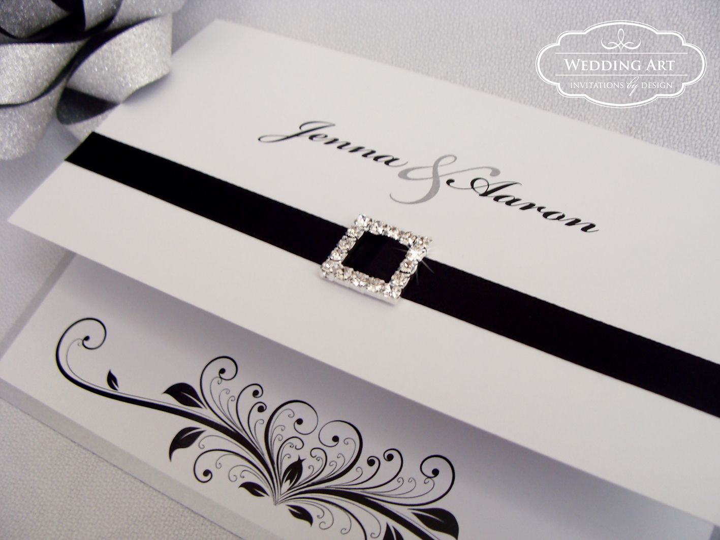 Black and white heart wedding invitation with diamante buckle and ...