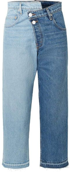 01d39a1b1ad Two-tone Distressed Mid-rise Straight-leg Jeans - Mid denim   constantly Richie Sofia
