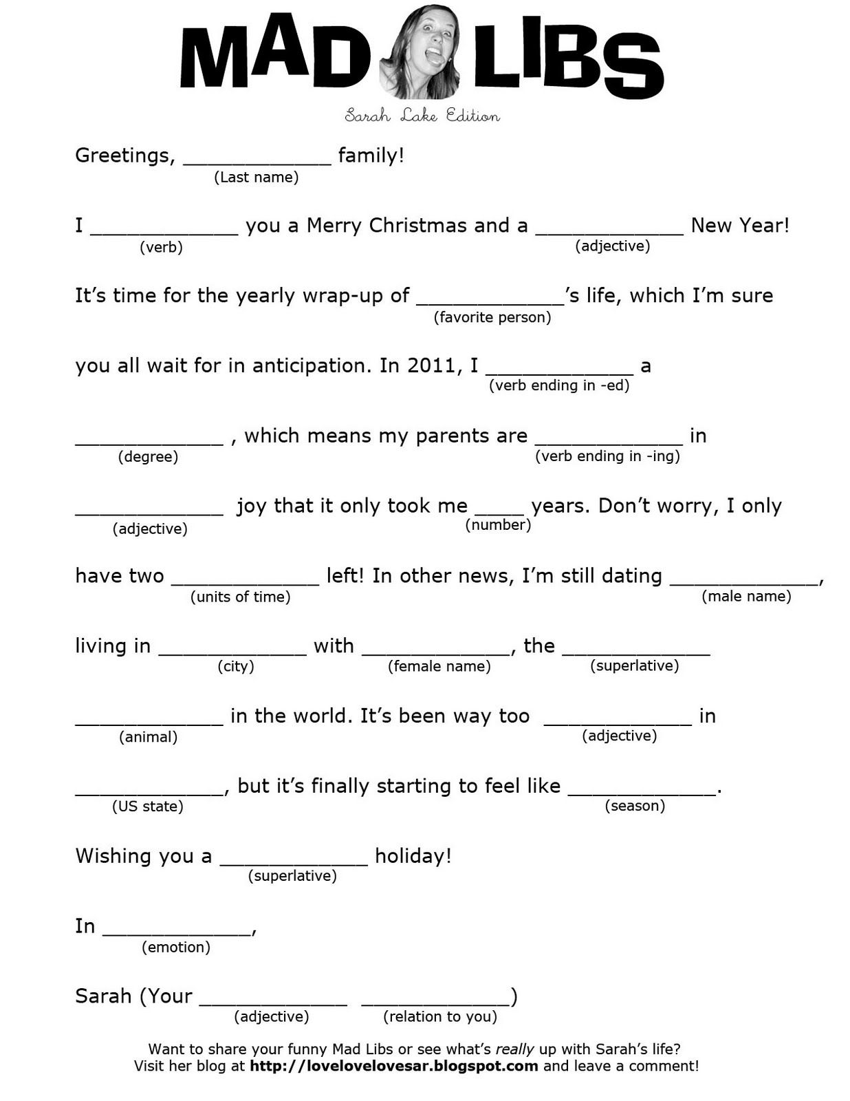 Mad Libs Christmas Letter In