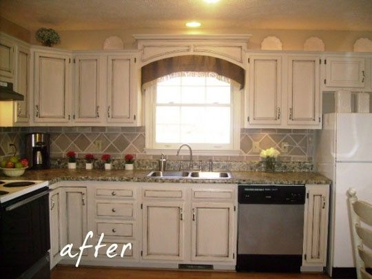 $17 dollar kitchen redo. Painted counter tops, cornice and cabinets ...
