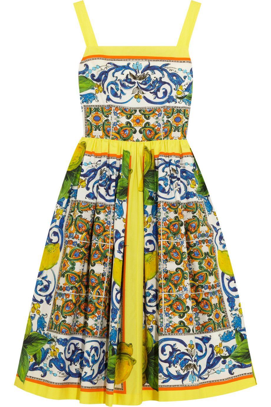 marigold printed cotton-poplin dress | dolce & gabbana