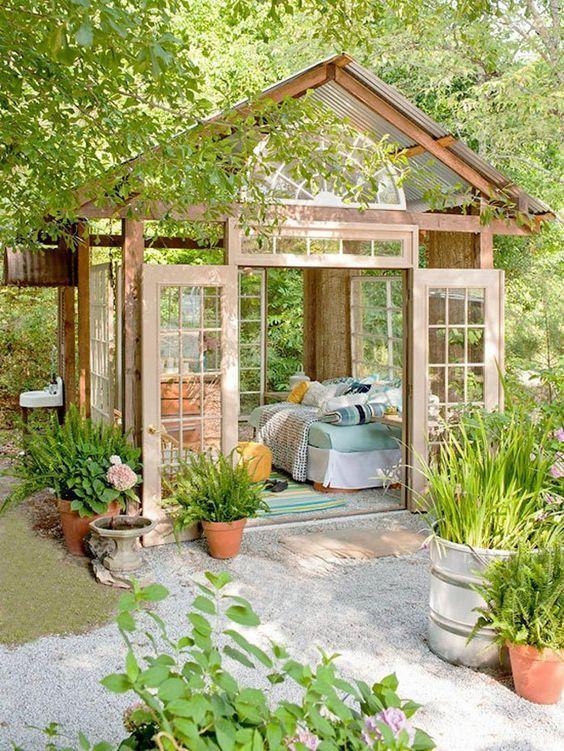 Gartenhaus Ideen Gartenpavillion Selber Bauen Holz Glas Bett Liege |  Беседки | Pinterest | Big Backyard, Garden Inspiration And Gardens