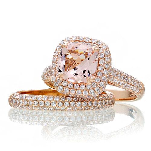 14 Karat Version Rose Gold Cushion Cut Morganite Bridal Set In 2018