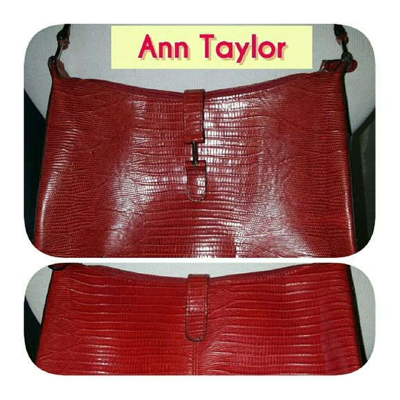 Ann Taylor Red pattern handbag My handbags are always super clean as as this one. It measures 10 inches across and 7 inches up and down. It has A7 inch drop and is 2 inches across the bottom. Reasonable offers welcome. Grosgrain interior with zipper pocket. Ann Taylor Bags