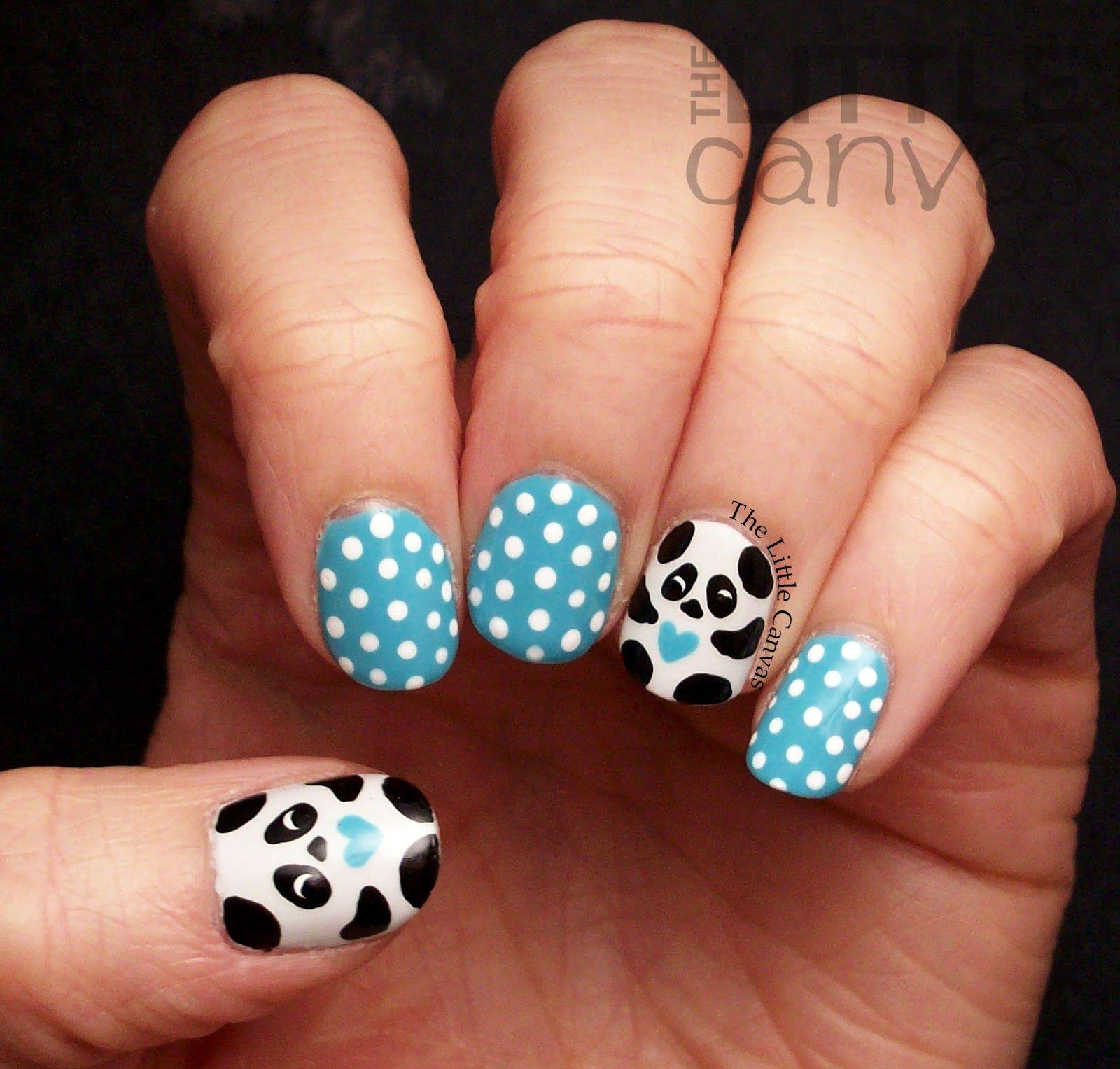 The Little Canvas: Panda Nail Art | Nails | Pinterest | Panda nail ...