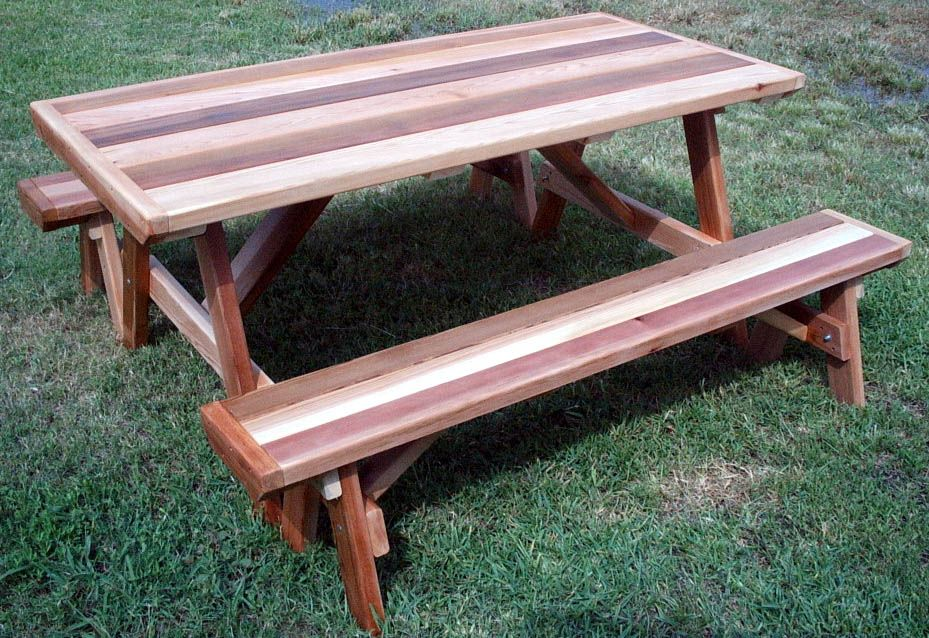 This 6 Ft Picnic Table Is Made Of Beautiful Western Red Cedar And Each And Every Board Is Planed Patio Table Plans Build A Picnic Table Outdoor Picnic Tables