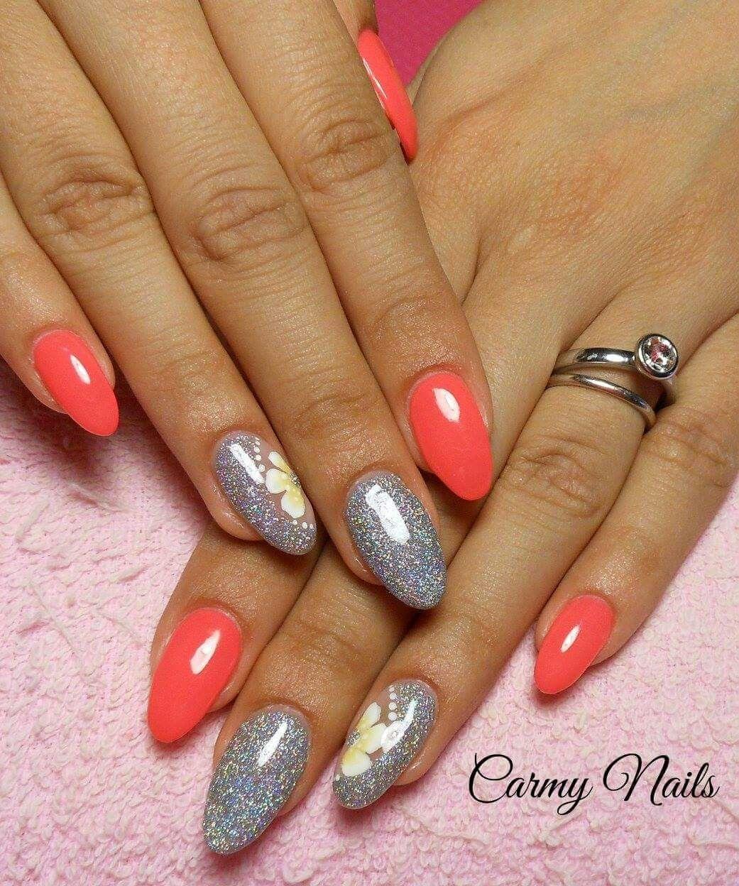 Corallo pastello coral orange argento glitter fiori Nail Art Glitter,  Nailart, Routine, Manicure