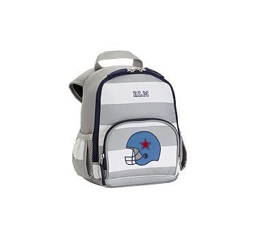 759187f4ff Fairfax Pre-K Backpack Stripe Gray White w Navy Trim Football Helmet ...