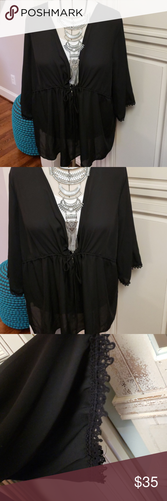 5418ff932f226 NEW! Front Tie Babydoll Top New!! Adorable black front tie top! See Torrid  size chart torrid Tops Blouses