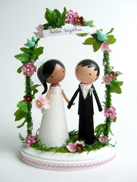 Married Minis Whimsical Cake Toppers By Lollipop Workshop Can Be Personalized To Represent The Bride And Groom