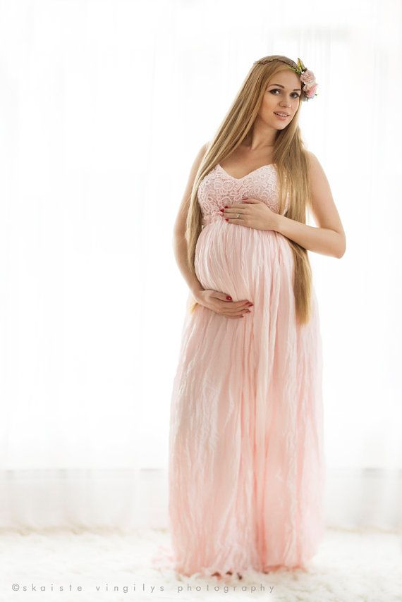 8623ea470f592 Maternity Dress For Baby Shower Pink Maxi Long by FancyBelly ...