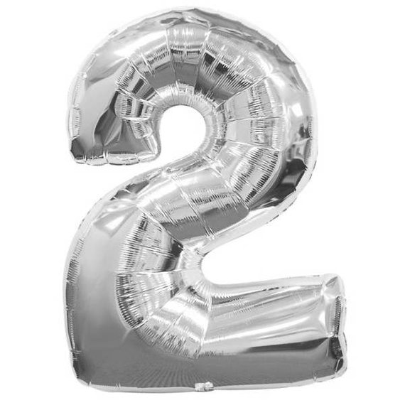 "16/"" Silver Number 2 Two Air Filled Foil Balloon 2nd Birthday Party Decoration"