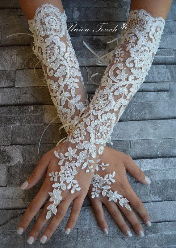 guantes de encaje marfil encaje brazalete encaje sin por UnionTouch