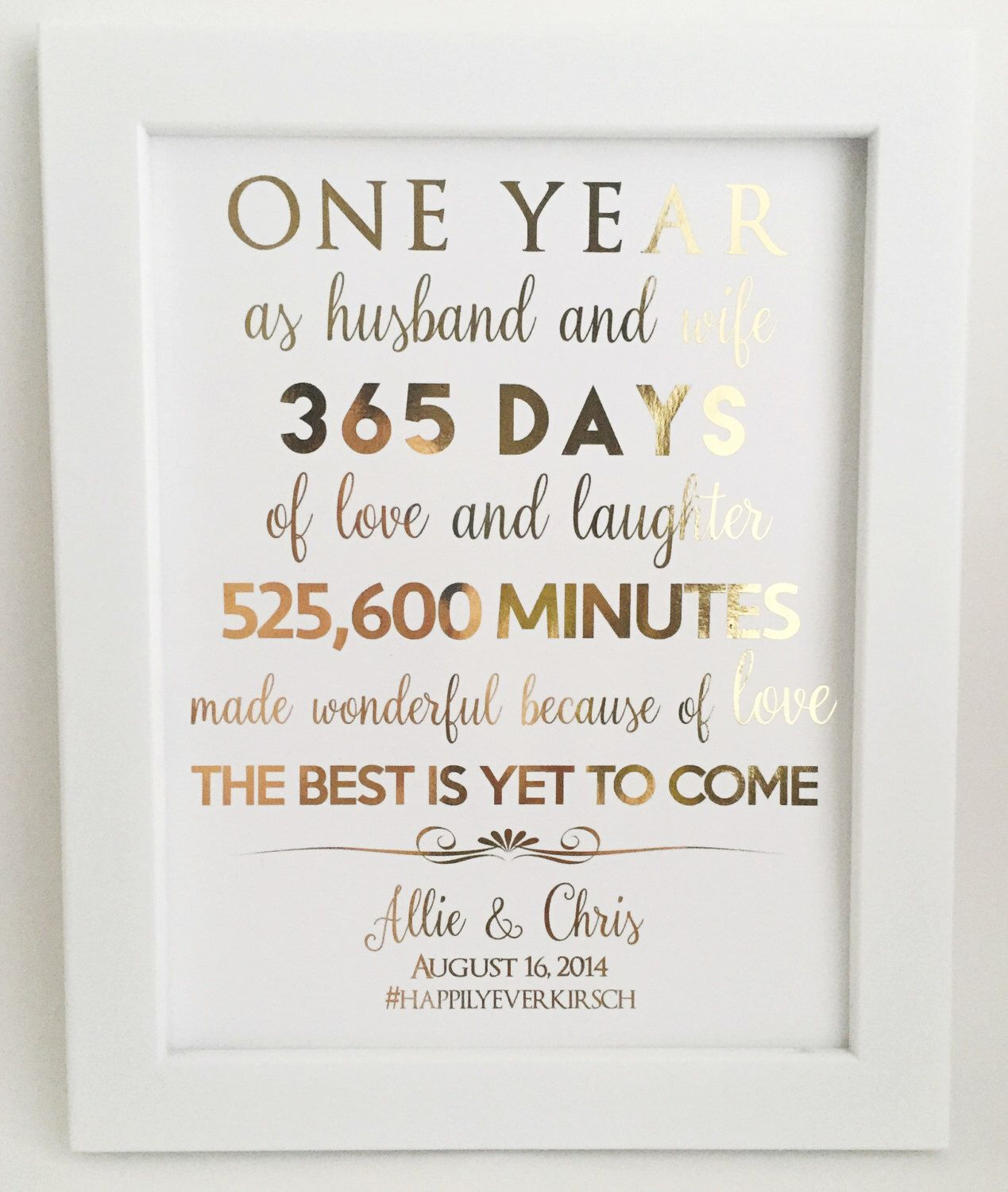 Gold Foil Print First 1st Anniversary Gift For Husband Or Wife Customizable