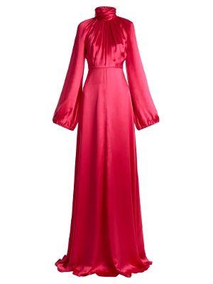 High-neck gathered silk-blend satin gown | Gucci | MATCHESFASHION.COM US