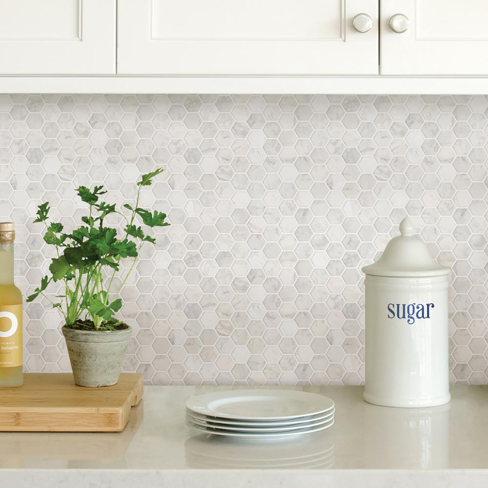 - Wall Pops White Hexagon Marble Peel Stick Backsplash Tiles NH2359