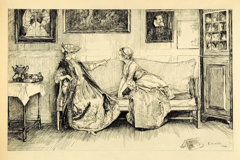 1920 photogravure edwin austin abbey art she stoops