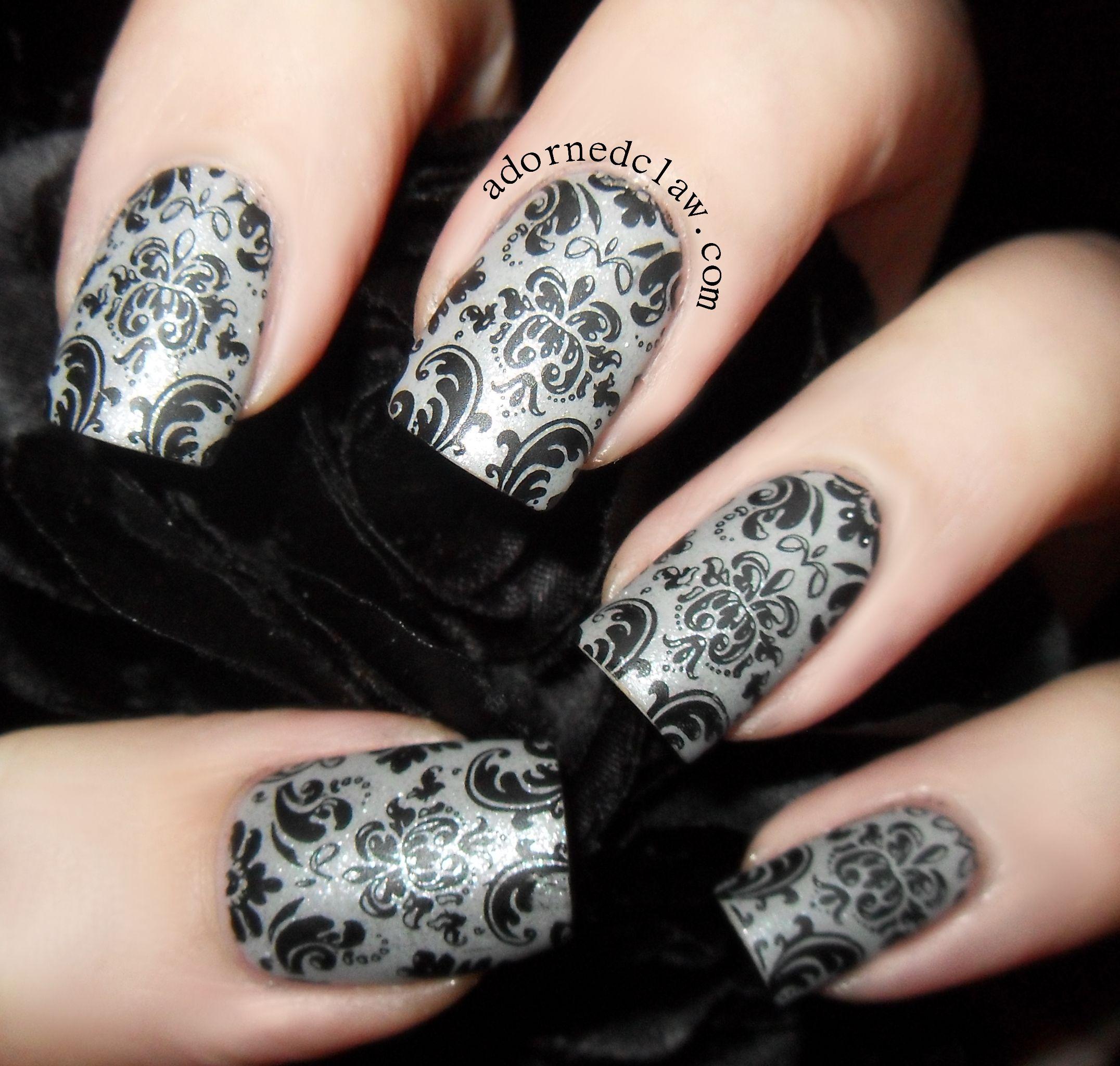 Matte Damask Nails Manicure Nail Designs Lace Nails Henna Nails