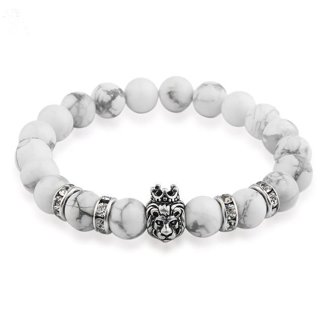 7fcb9967672 Men's Lion Head Bracelet with Natural Stone Beads | 6 Colors & Styles