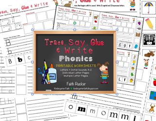 Letters - Trace, Say, Glue and Write.  Print and go phonics activity set for introduction, review, or centers.$