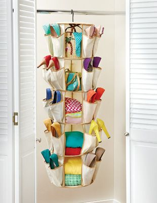 40 Pocket Hanging Pocket Spinning Closet Organizer $13  @www.collectionsetc.com