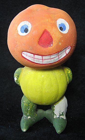 Halloween Candy Container JOL Veggie Man Pumpkin Head Papier Mache 5 - vintage halloween decorations ebay