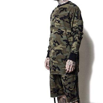 ff2e753f1cbda yeezy oversized camo Hip Hop justin bieber Clothes Street Wear Kpop urban  Clothing Mens Long Sleeve Longline shirt swag Clothes