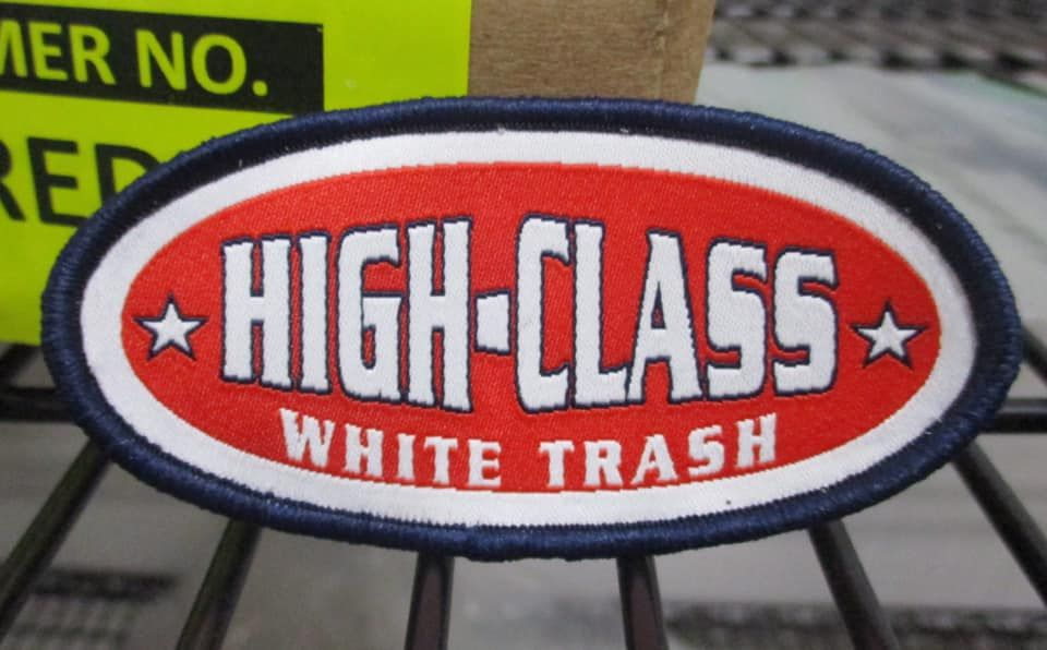 New High Class White Trash Woven Patch being released. This will be the main logo for all of their trucker hats.   #highclasswhitetrash #brand #logo #truckerhat #patch #wovenpatch #camping #glamping #nascar #rednecks #kidrock