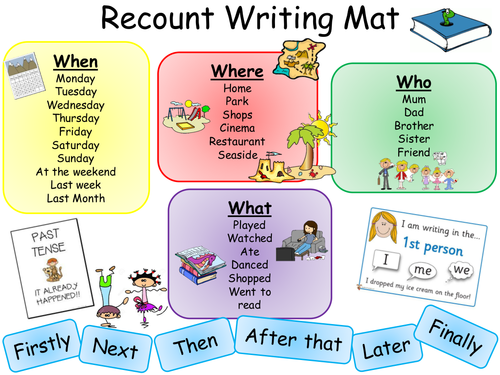 Classroom Design Meaning ~ Recount writing mat and activity pinterest literacy