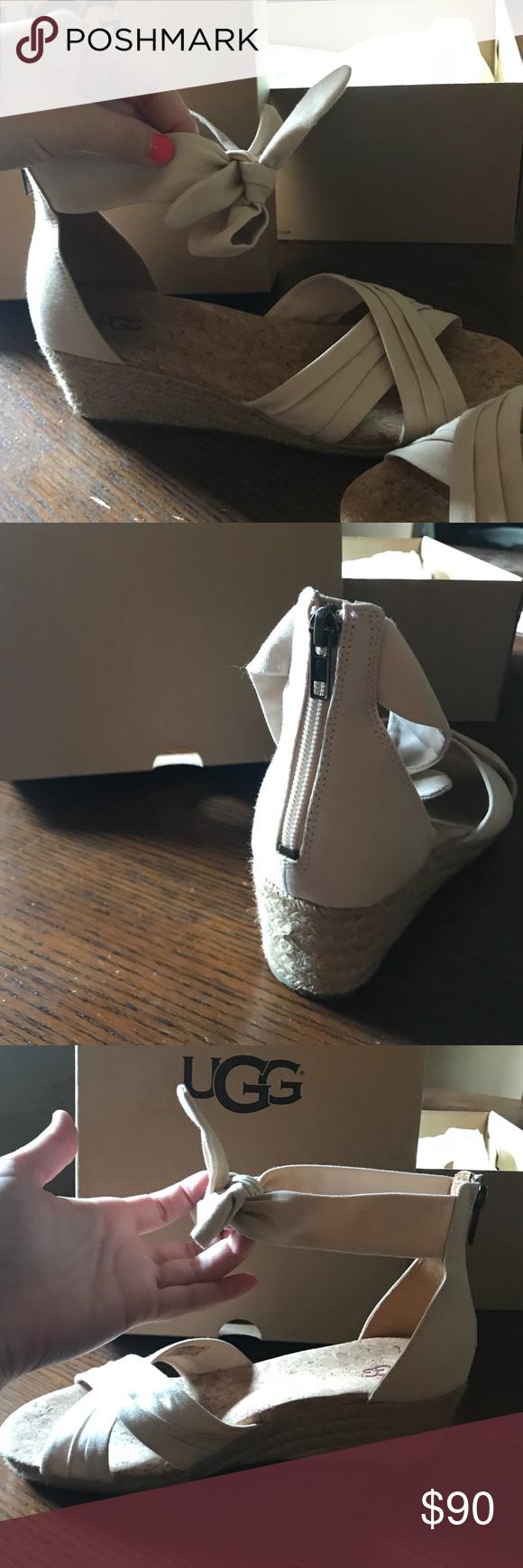 2bdf84558c8 UGG Shoes | Ugg Womens Traci Espadrille Wedge Sandals | Color: Cream ...