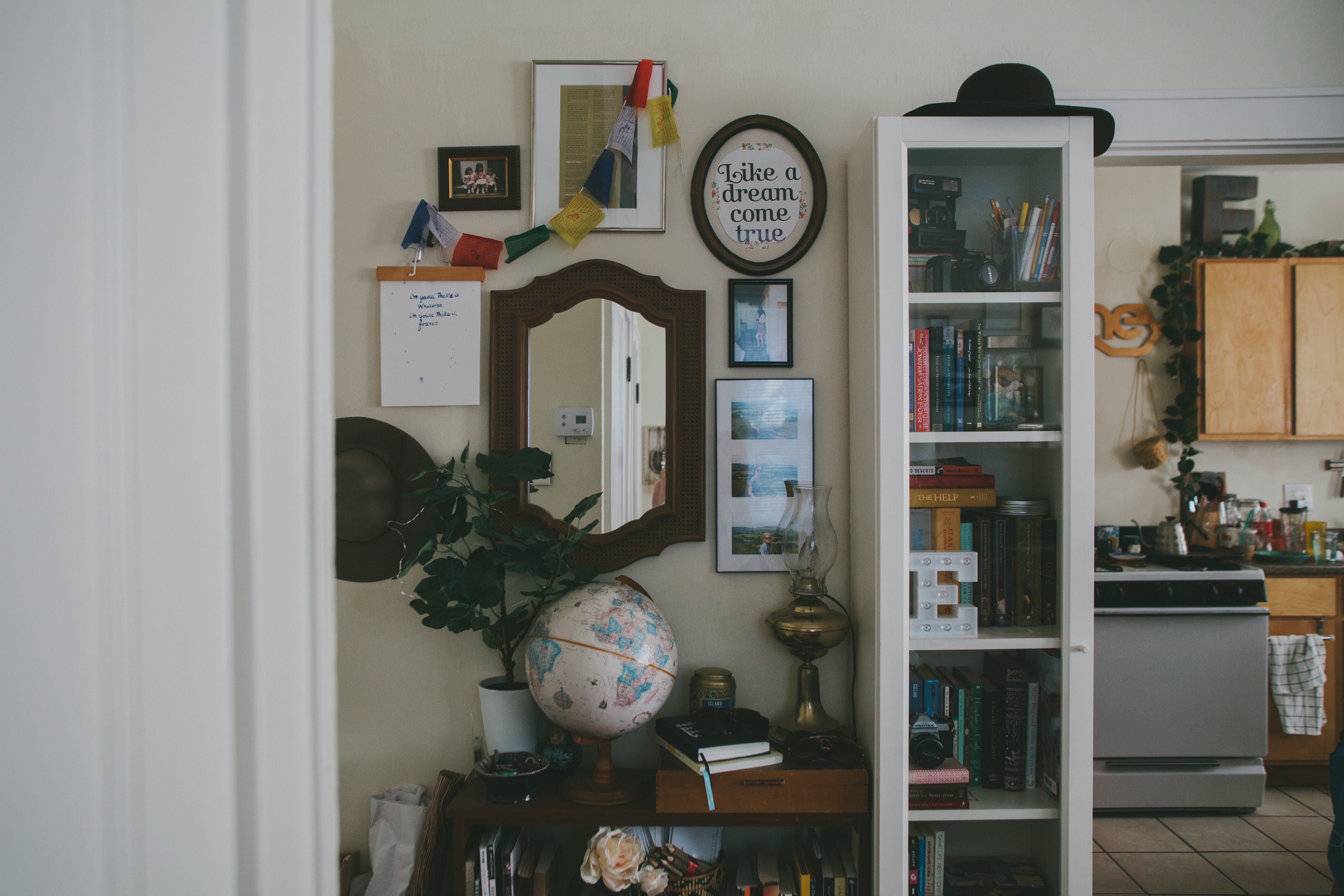 The Apartment Entryway Features Both New And Vintage Items. The Globe Is A  Thrift Store