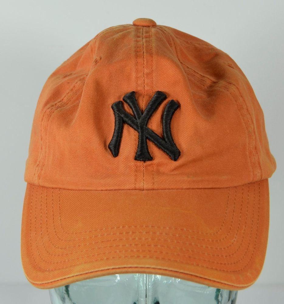 b18165ff013 NY New York Yankees Orange Adjustable Hat Twins Enterprise Faded Distressed  Cap  TwinsEnterprise  NewYorkYankees