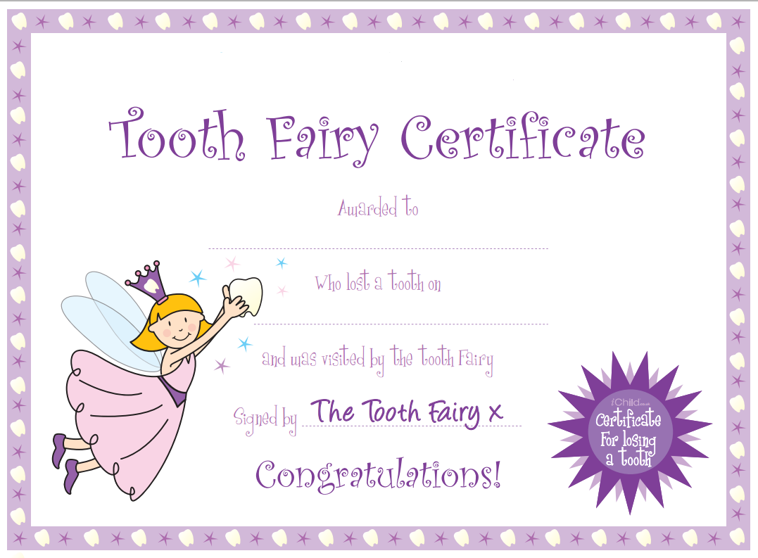 It is a photo of Dashing Tooth Fairy Certificate Printable Girl