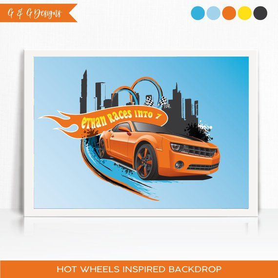 HOT WHEELS Racing Scene Setter HAPPY BIRTHDAY Party wall decor Race Cars