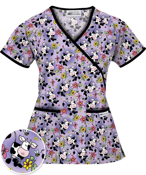 ab90210ce20 WT668GCD UA Women's Got Cow Dark Lilac Mock Wrap Scrub Top $13.99 http://