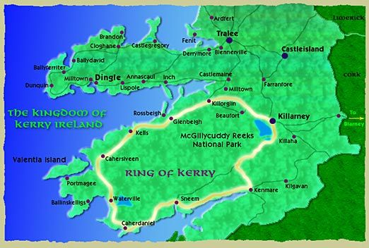 Ring Of Kerry Map Ring Of Kerry Map Ireland Map Ireland