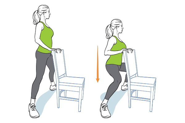 12 Ways To Work Out When The Only Prop You Ve Got Is A Chair Seated Exercises Leg Workout Squat Workout