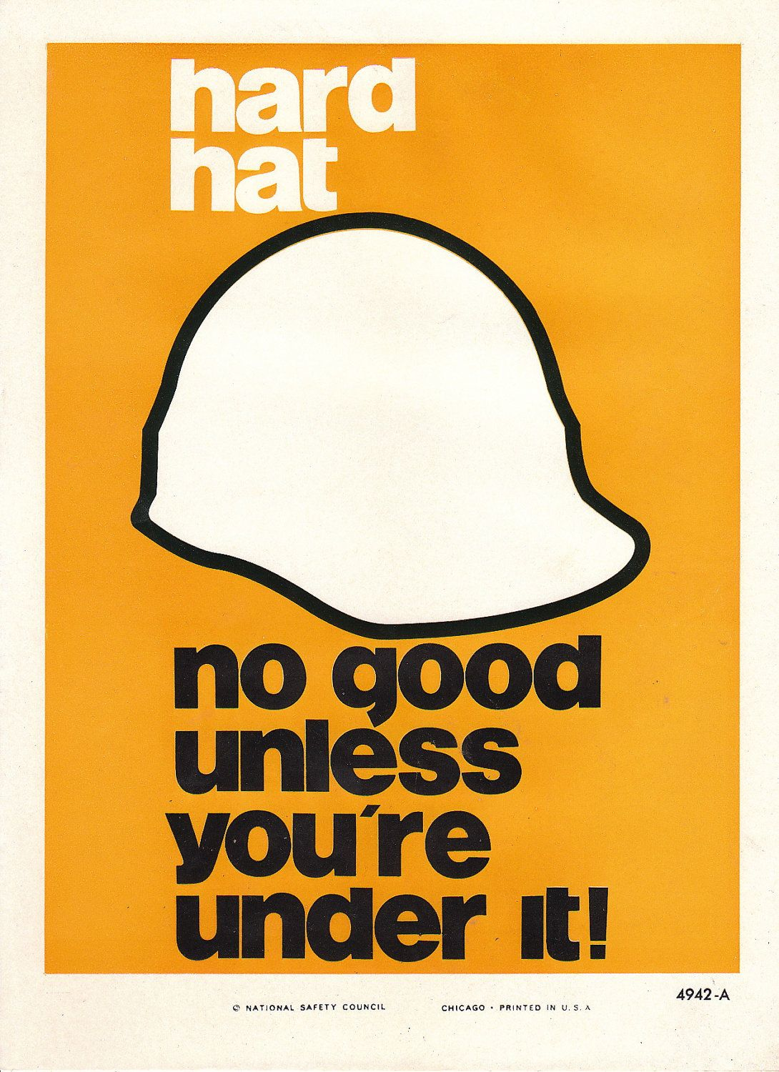 Workplace safety posters - Vintage National Safety Poster Hard Hat 12 95 Via Etsy