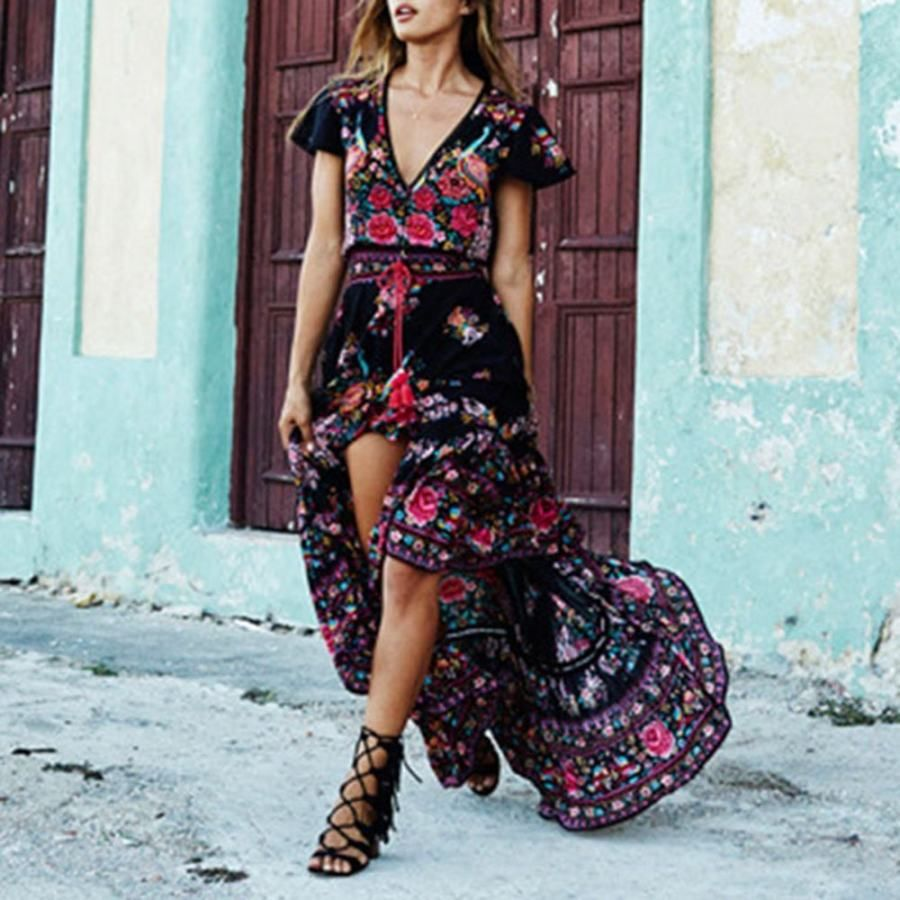 Print Short Sleeve V Neck Floor Length Floral Women S Dress Realyiyi Com In 2021 Boho Maxi Dress Fashion Bohemian Floral Dress [ 900 x 900 Pixel ]