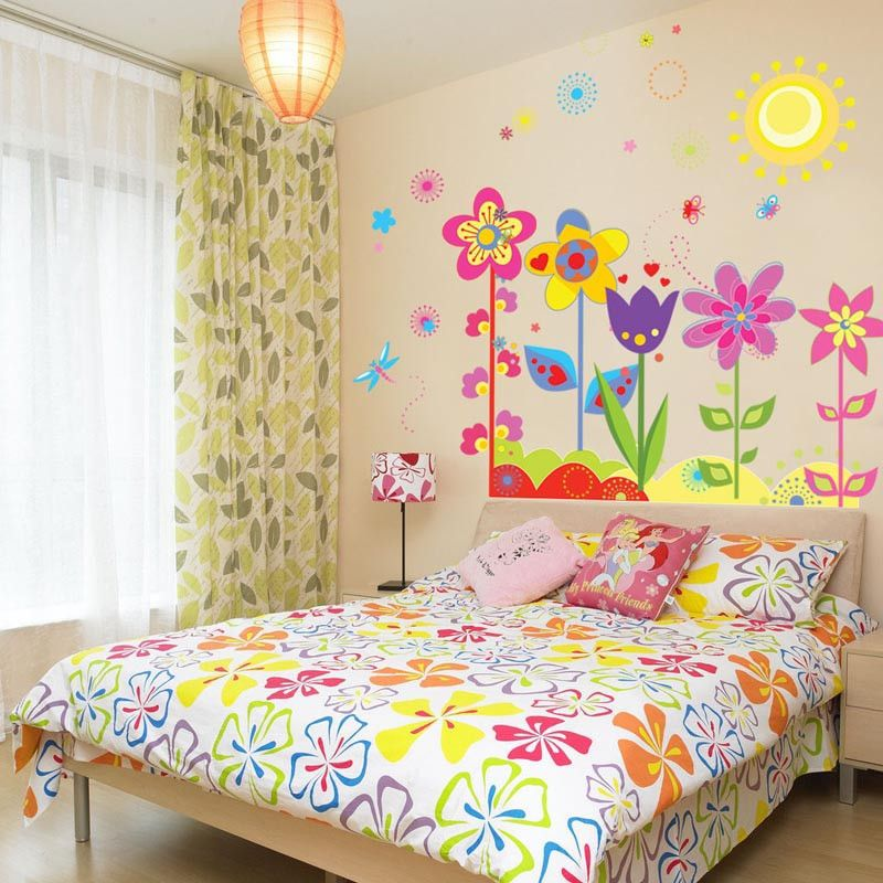 ISHOWTIDENDA Wall sticker Flower Butterfly Removable Vinyl Decal Art ...
