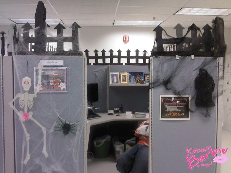 kawaiibarbie halloween decorating my boss cubicle - Halloween Office Decoration