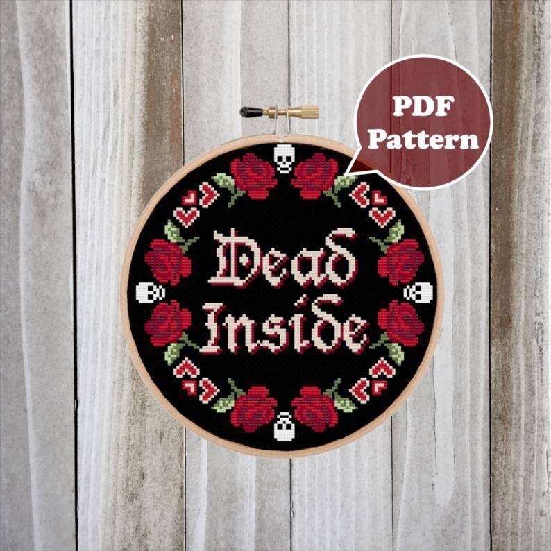 Photo of Dead Inside Cross Stitch Pattern – Modern Cross Stitch Pattern  – Floral Cross Stitch Pattern – Skull Cross Stitch – Dark Humor