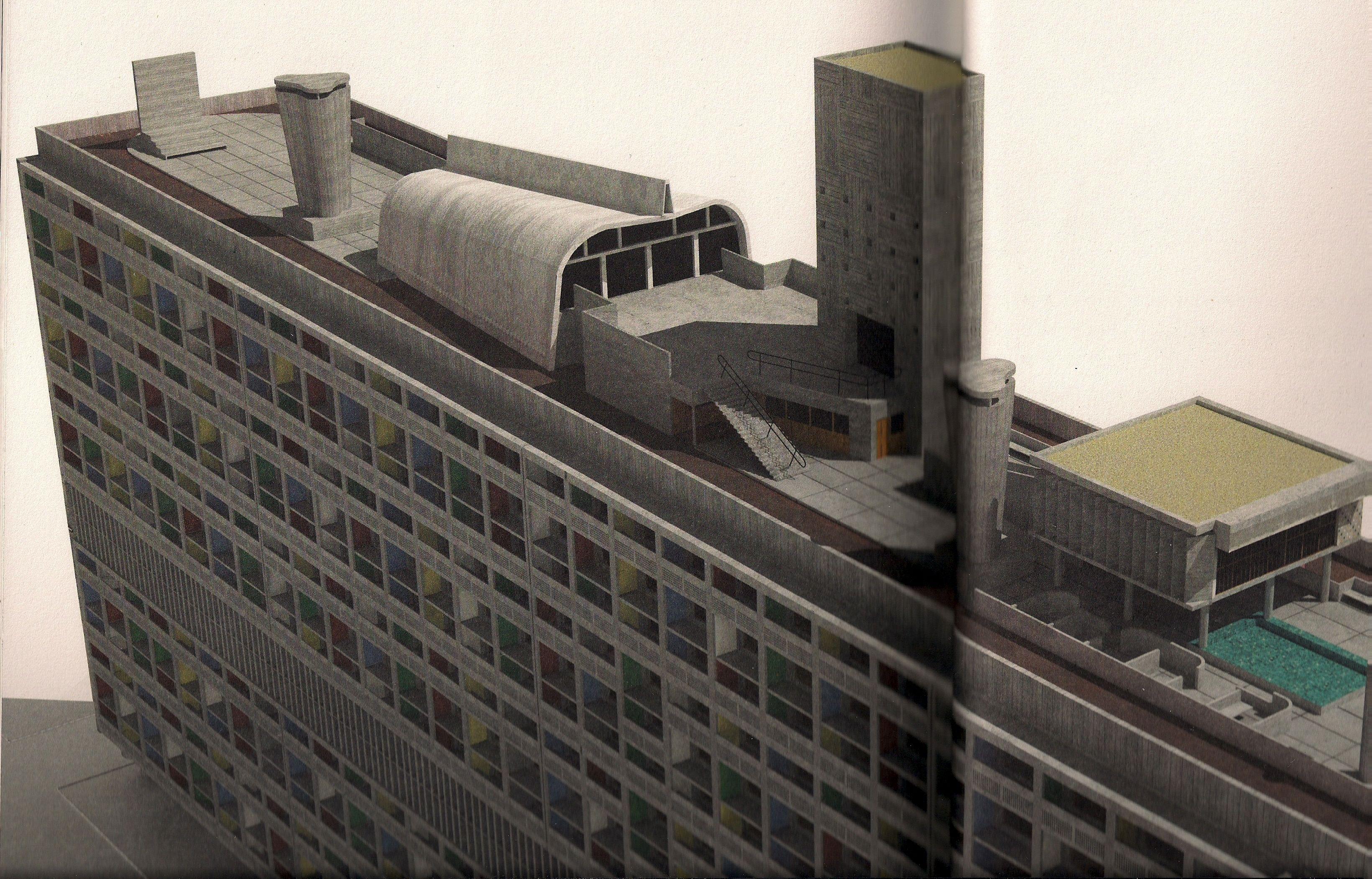 Le Corbusier Unite D Habitation pin on concrete