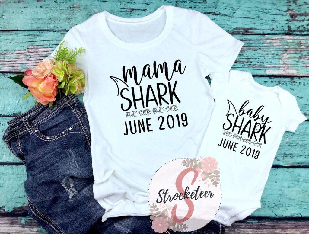 9075e0f140d9e Women's / Baby Matching Shirt Set - MAMA Shark & BABY Shark DUE DUE ...