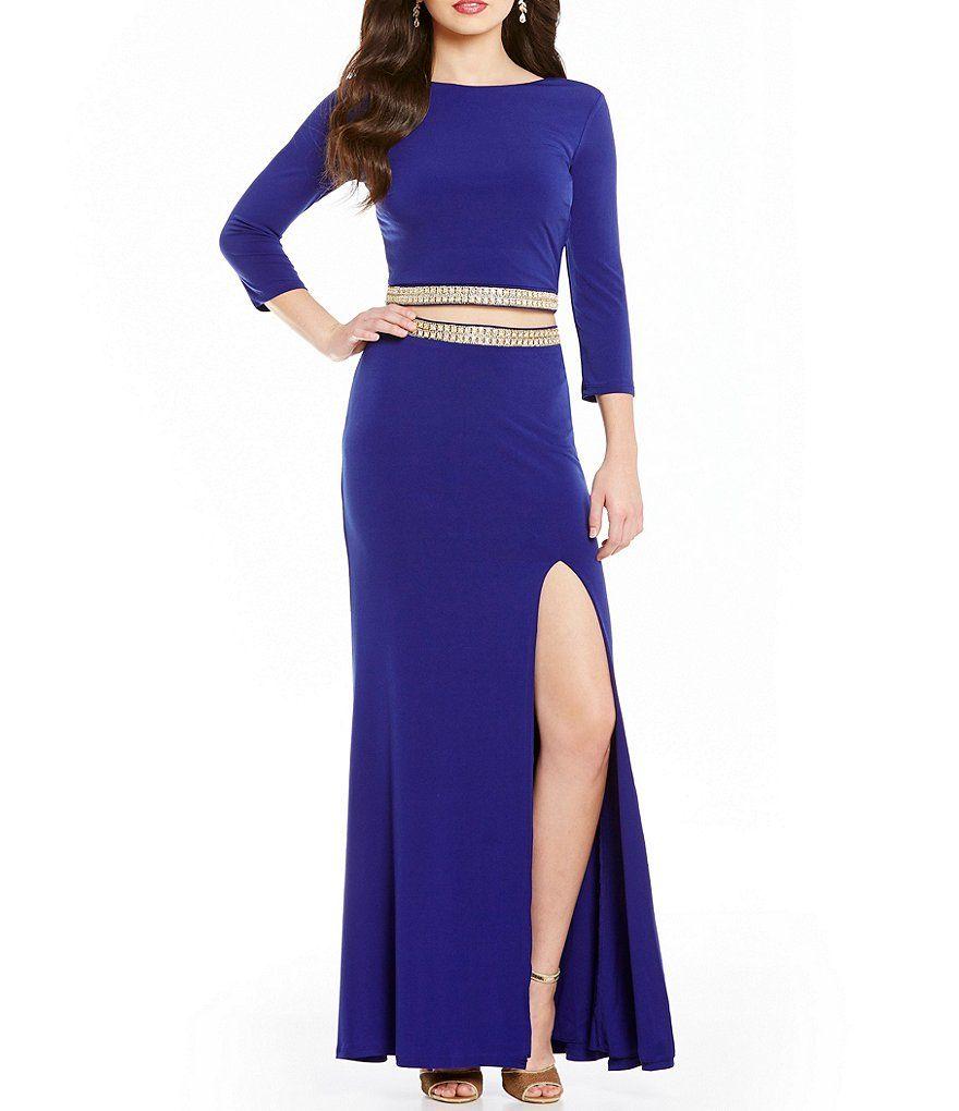 Jodi kristopher beaded trim waist twopiece long dress look