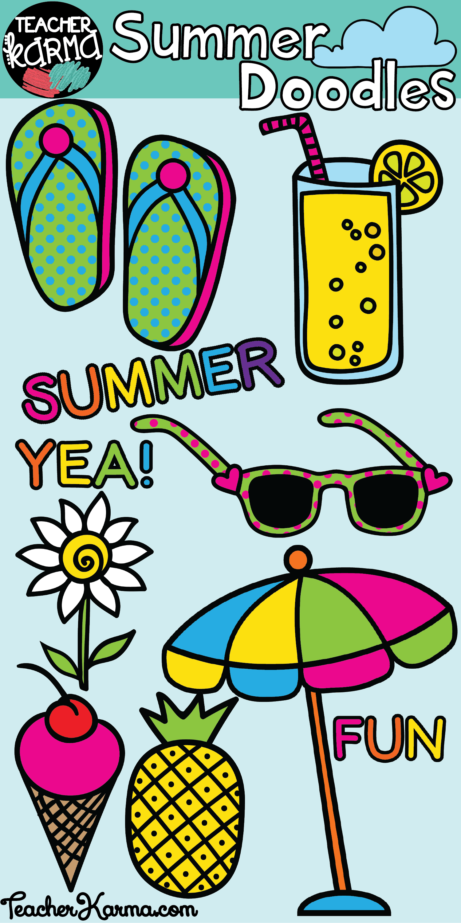 summer doodles clipart is perfect for classroom teachers and teachers pay teachers sellers works great for end of year activities teacherkarma com [ 1500 x 3005 Pixel ]