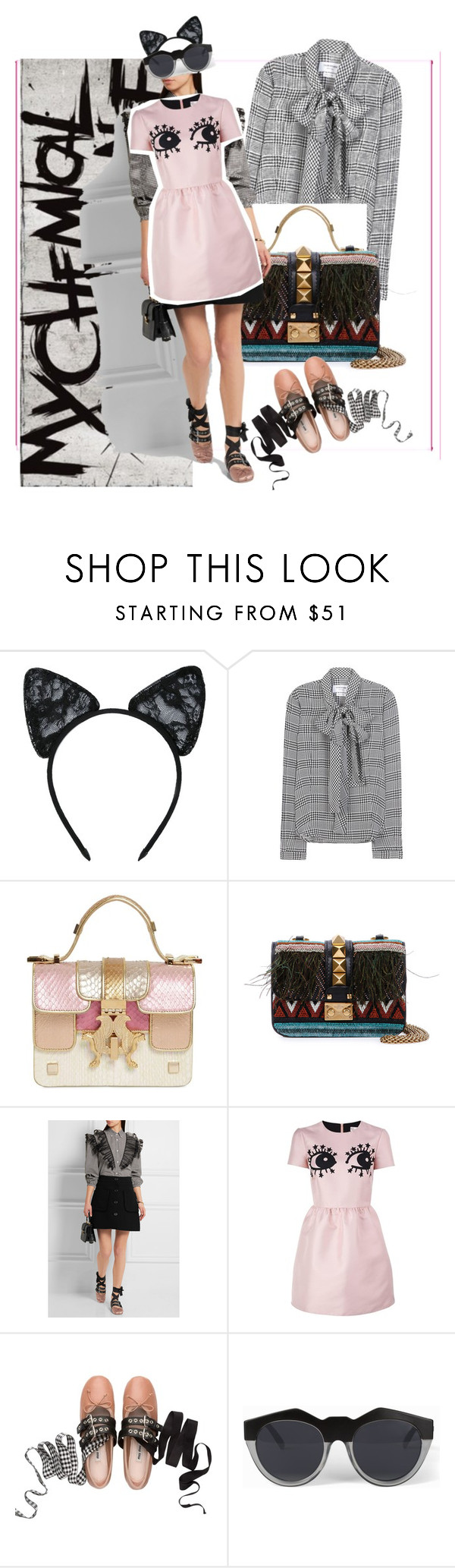 """""""Untitled #21"""" by reemkhater ❤ liked on Polyvore featuring Maison Close, Thom Browne, Giancarlo Petriglia, Valentino, Miu Miu, RED Valentino and Le Specs"""