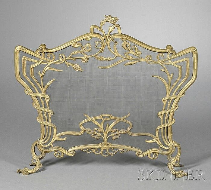 french art nouveau gilt metal fireplace screen late 19th ea rh pinterest com