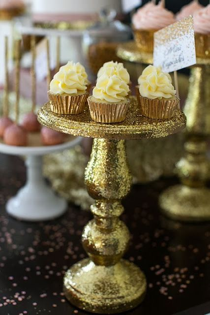 Glamorous cupcake stand covered with gold glitters #gold #dessert